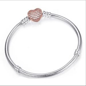 Rose Gold Heart Clasp European Bracelet